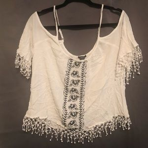 Rue 21 White and Black Embroidered Crop Top, XL